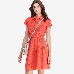 DVF Skylar Eyelet coral collared dress size 10